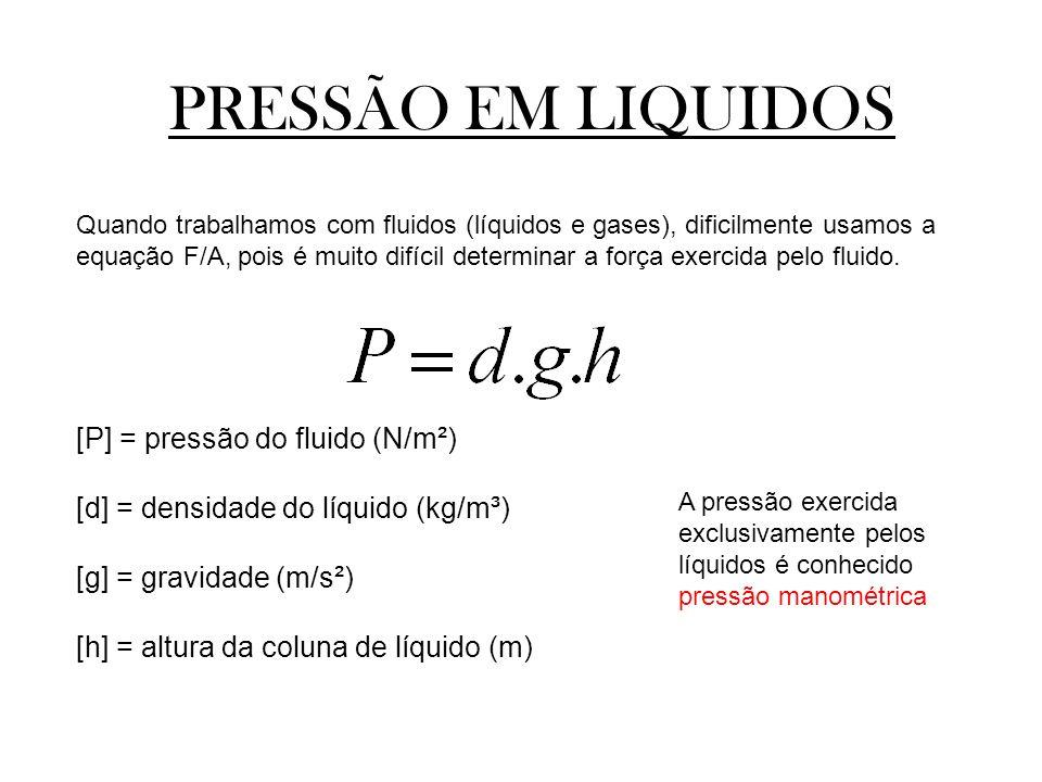 PRESSÃO EM LIQUIDOS [P] = pressão do fluido (N/m²)
